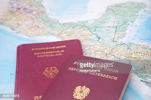 Close Up of Passport and map of Central America. : Stock Photo