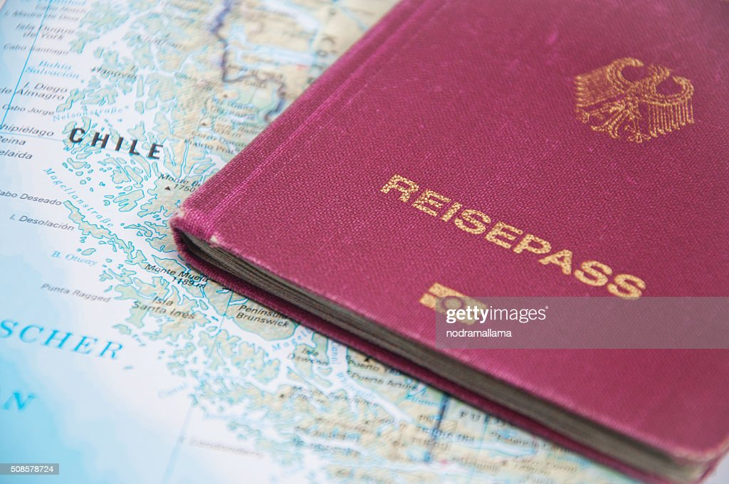 Close Up of Passport and map of Chile. : Stock Photo