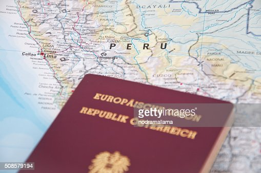 Close Up of Passport and map of Chile. : Stockfoto