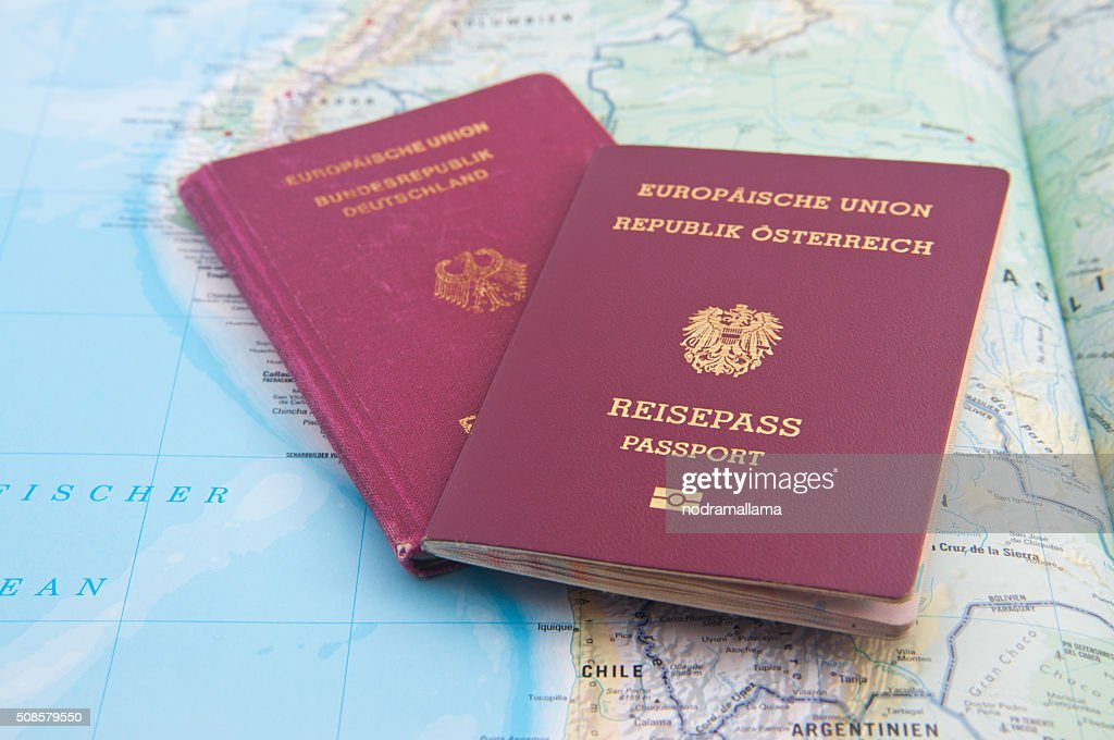 Close Up of Passport and map of South America. : Stock Photo