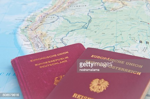 Close Up of Passport and map of South America. : Stockfoto