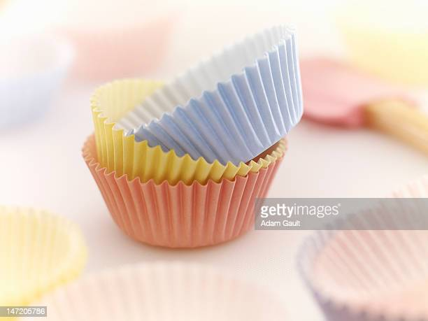 Close up of pastel cupcake holders