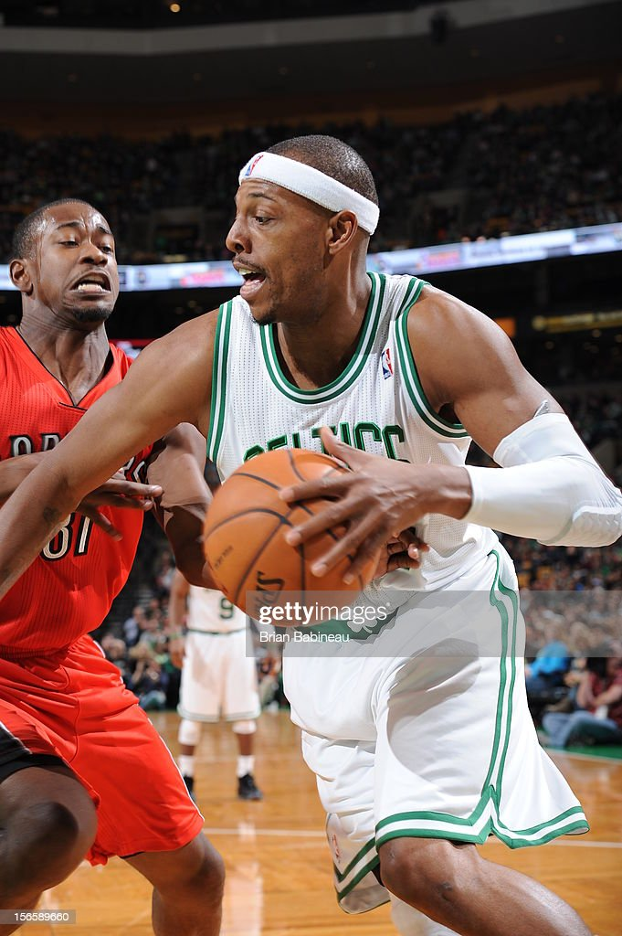 Close up of <a gi-track='captionPersonalityLinkClicked' href=/galleries/search?phrase=Paul+Pierce&family=editorial&specificpeople=201562 ng-click='$event.stopPropagation()'>Paul Pierce</a> #34 of the Boston Celtics as he drives to the basket against <a gi-track='captionPersonalityLinkClicked' href=/galleries/search?phrase=Terrence+Ross&family=editorial&specificpeople=6781663 ng-click='$event.stopPropagation()'>Terrence Ross</a> #31 of the Toronto Raptors on November 17, 2012 at the TD Garden in Boston, Massachusetts.