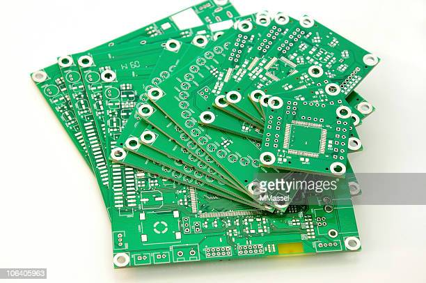 Close up of PCBs on a white background