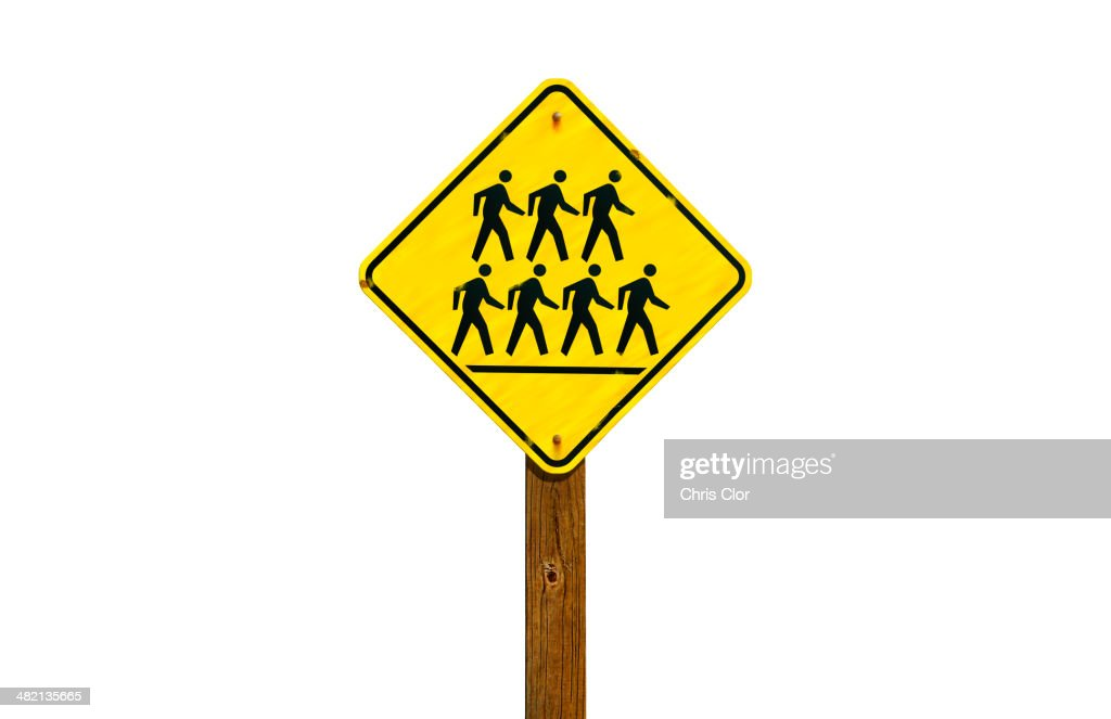 Close up of pedestrian crossing sign