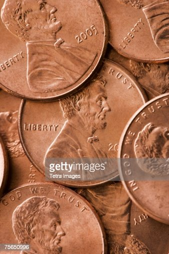 Close up of pennies