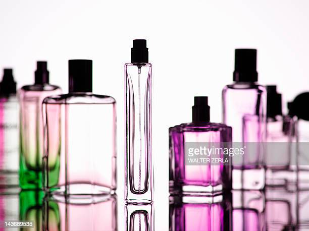 Close up of perfume bottles