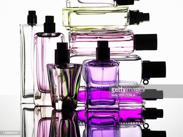 Close up of perfume bottles