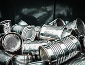 Close up of pile of aluminum cans