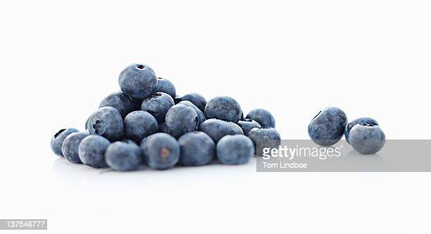 Close up of pile of blueberries