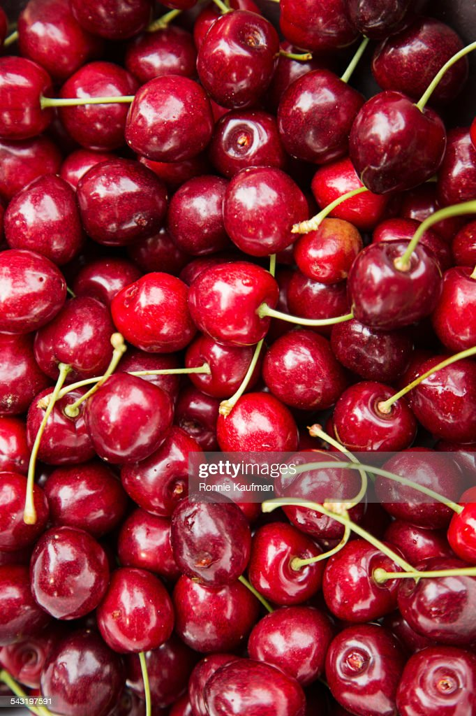 Close up of pile of cherries