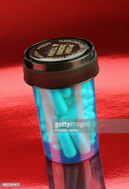 Close up of Pill bottle on a red background