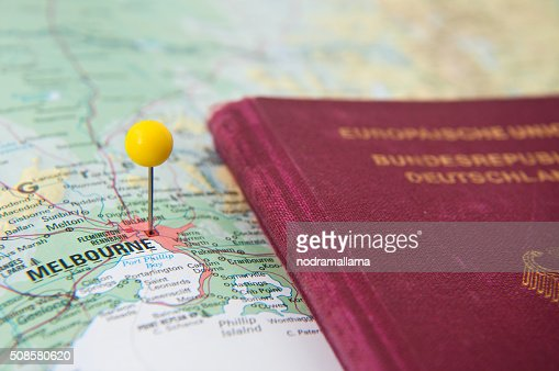 Close Up of Pin on map and Passport, Melbourne, Australia. : Stock Photo