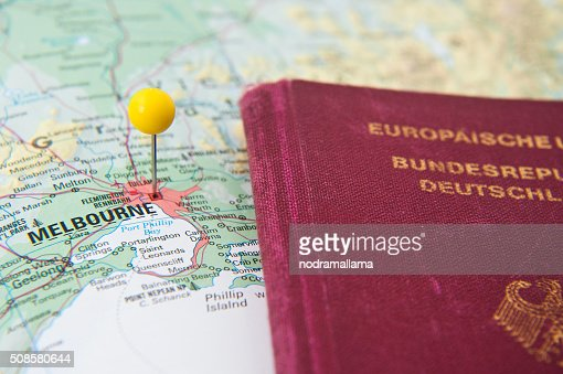 Close Up of Pin on map and Passport, Melbourne, Australia. : Stockfoto