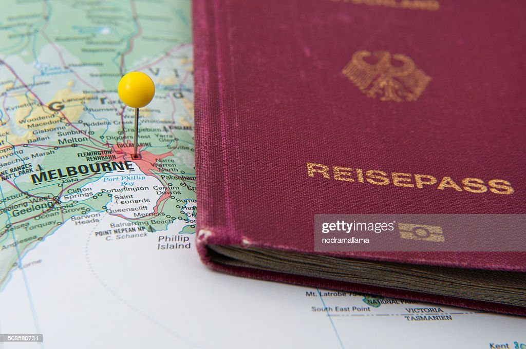 Close Up of Pin on map and Passport, Melbourne, Australia. : Bildbanksbilder