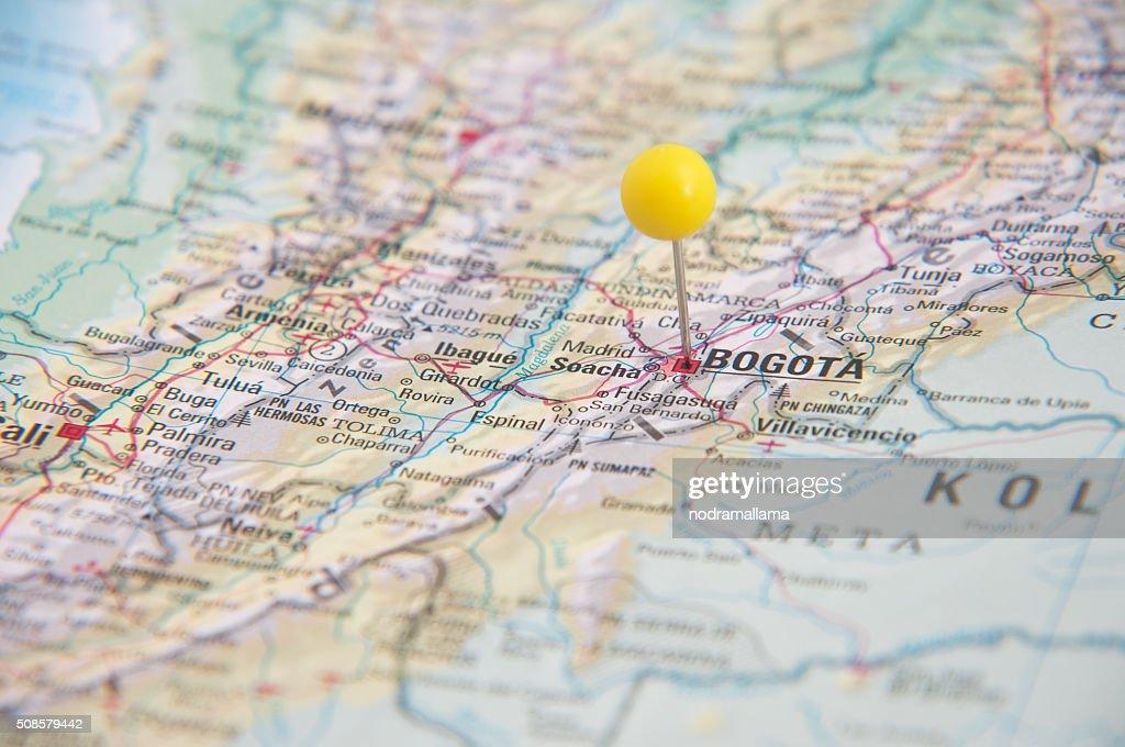Nahaufnahme von Polig auf Karte, Bogota, Kolumbien und Südamerika. : Stock-Foto