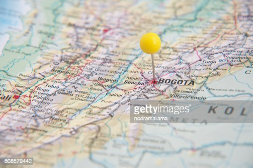 Close Up of Pin on map, Bogota, Colombia, South America. : Stock Photo