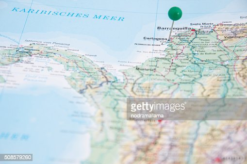 Close Up of Pin on map, Cartagena, Colombia, South America. : Stockfoto