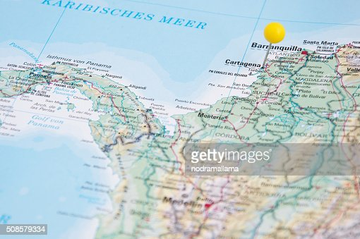 Close Up of Pin on map, Cartagena, Colombia, South America. : Bildbanksbilder