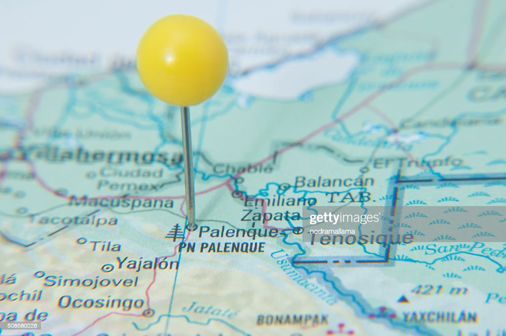 Close Up of Pin on map, Palenque, Mexico, Central America. : Stock Photo