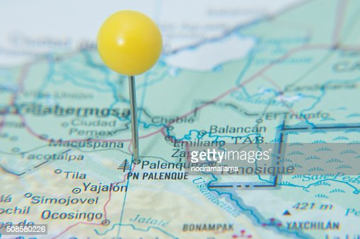 Close Up of Pin on map, Palenque, Mexico, Central America. : Stockfoto