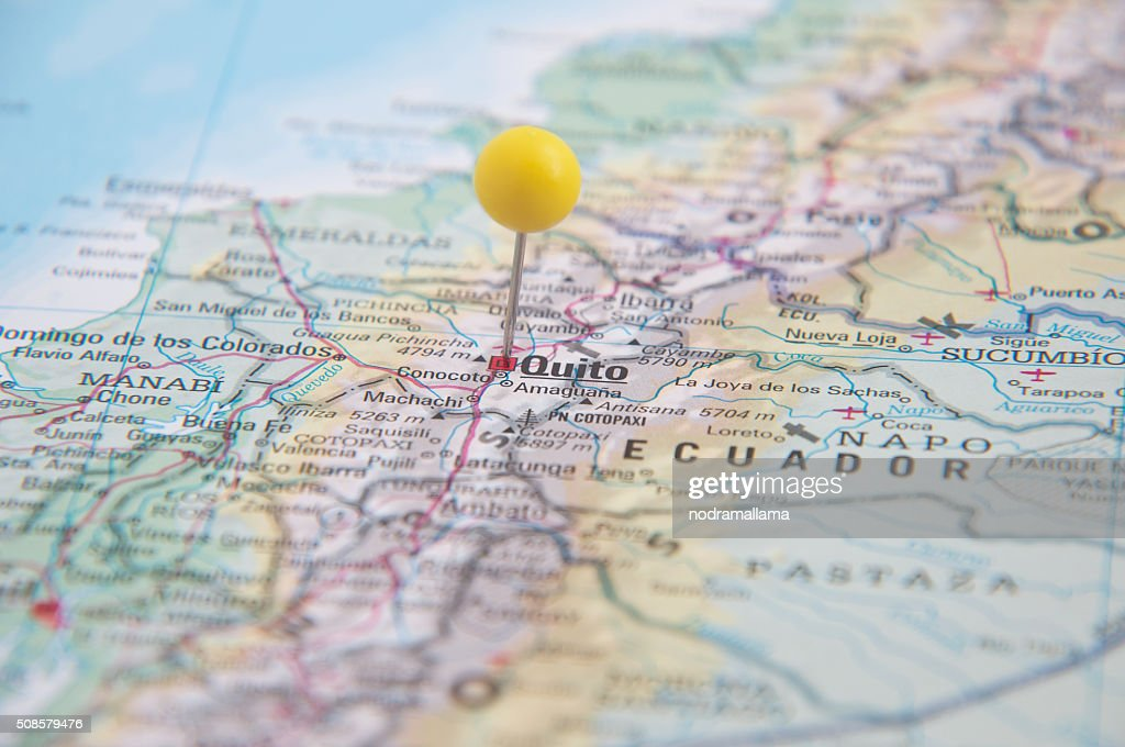 Close Up of Pin on map, Quito, Ecuador, South America. : Stockfoto