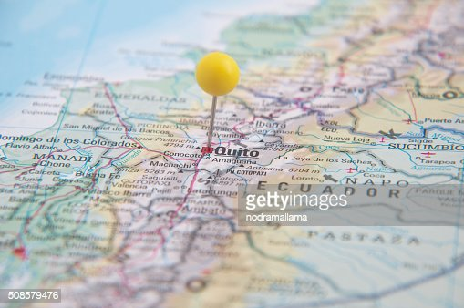 Close Up of Pin on map, Quito, Ecuador, South America. : Stock Photo
