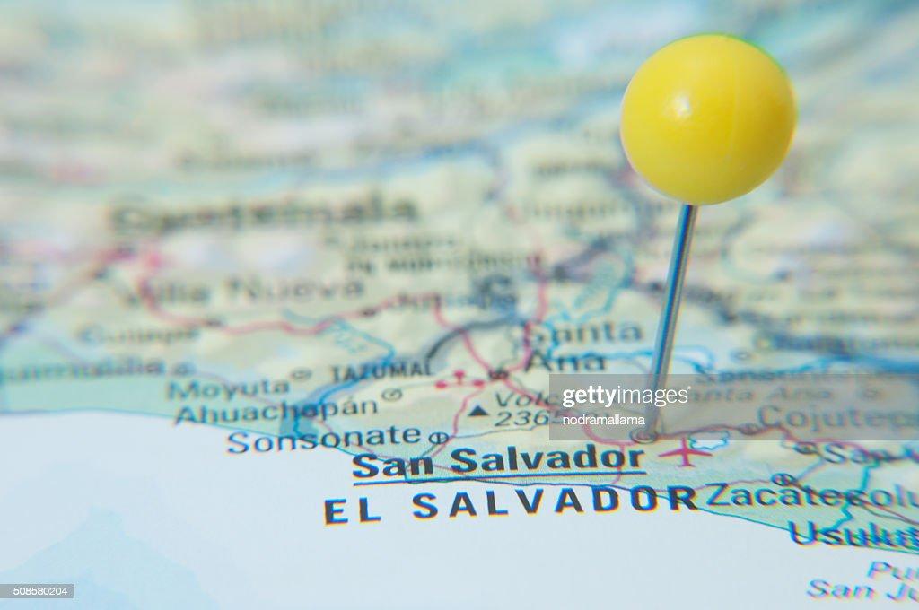 Close Up of Pin on map, San Salvador, El Salvador. : Stockfoto