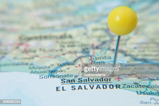 Close Up of Pin on map, San Salvador, El Salvador. : Stock Photo