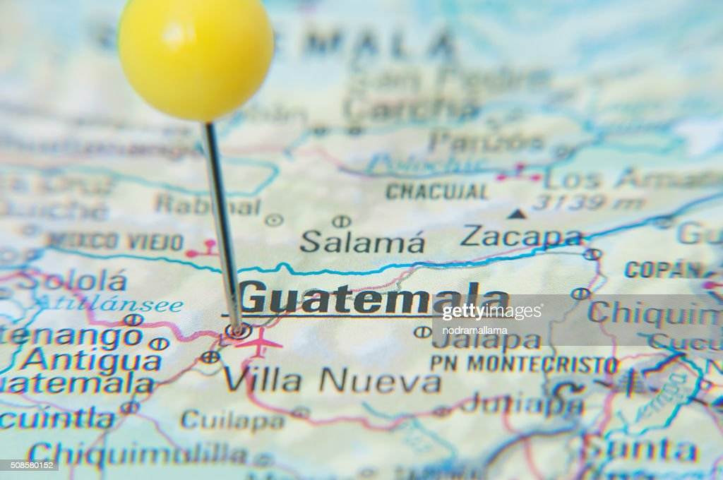 Close Up of Pin on the map, Guatemala, Central America. : Stock Photo