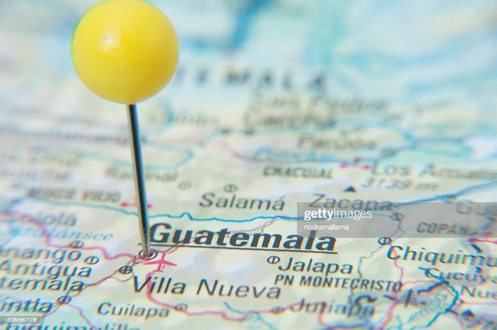 Close Up of Pin on the map, Guatemala, Central America. : Bildbanksbilder