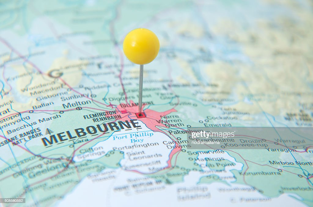 Close Up of Pin on the map, Melbourne, Victoria, Australia. : Stockfoto