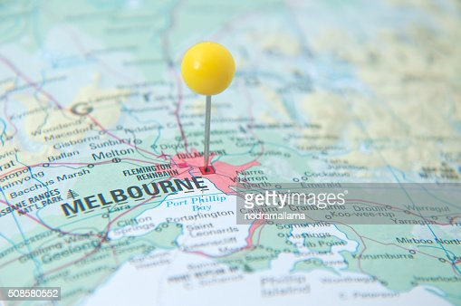 Close Up of Pin on the map, Melbourne, Victoria, Australia. : Stock Photo