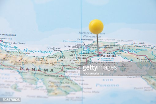 Close Up of Pin on the map, Panama, Central America. : Stockfoto