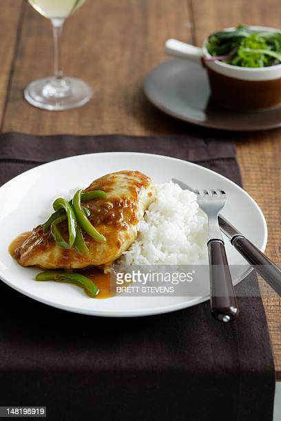 Close up of plate of chicken and rice