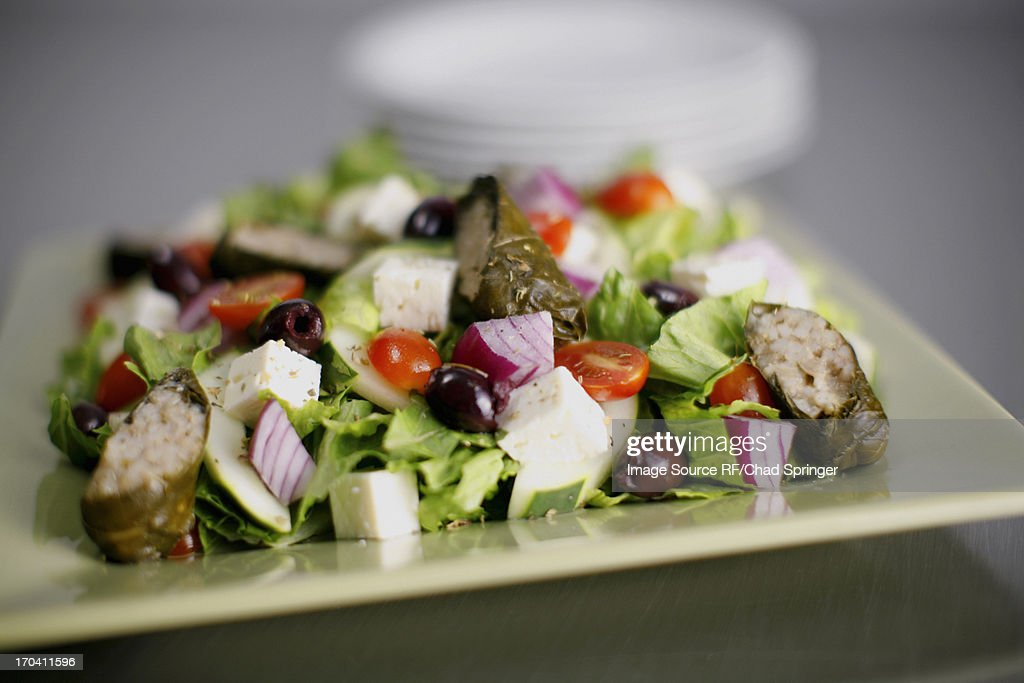 Close up of plate of chopped salad : Stock Photo