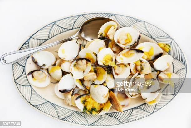 Close up of plate of clams