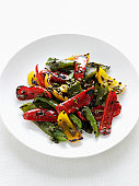Close up of plate of grilled peppers