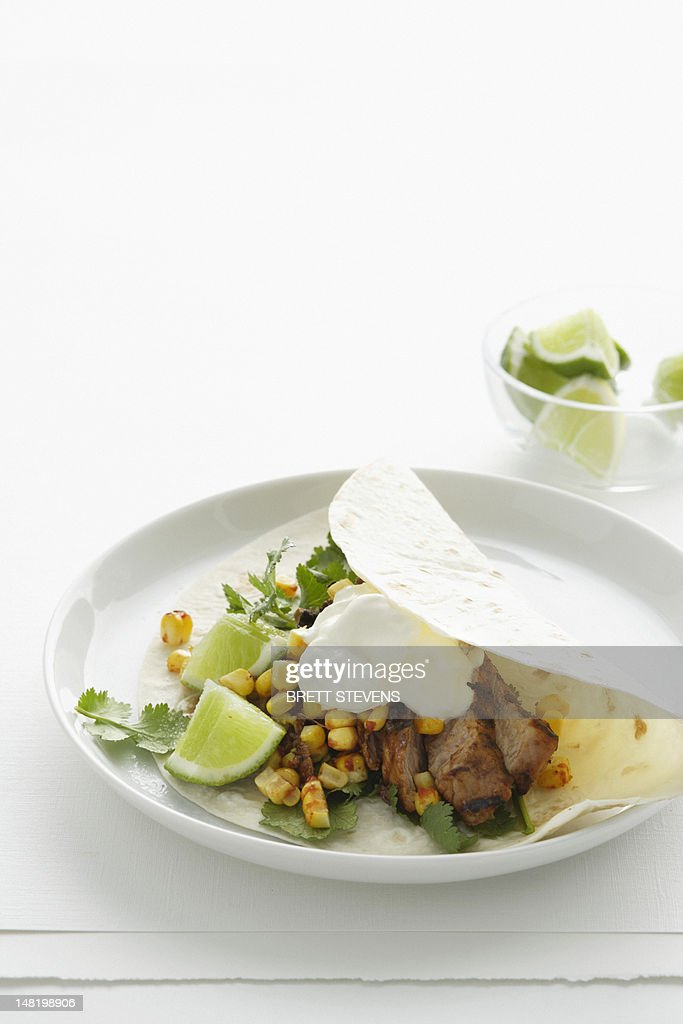 Close up of plate of meat taco : Stock Photo