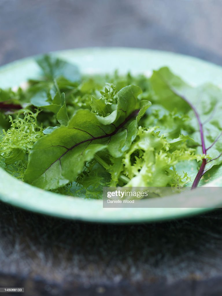 Close up of plate of mixed greens : Stock Photo