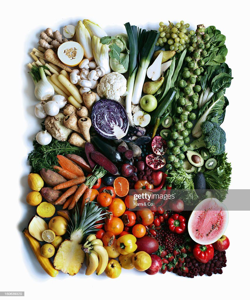 Close up of produce arranged in square : Stock Photo