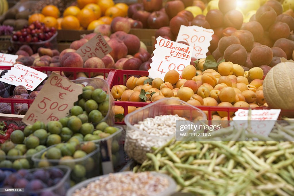 Close up of produce for sale : Stock Photo