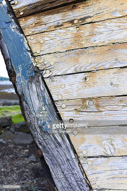 Close up of prow of old fishing boat at Salen Bay in Sound of Mull on Isle of Mull in the Inner Hebrides and Western Isles Scotland