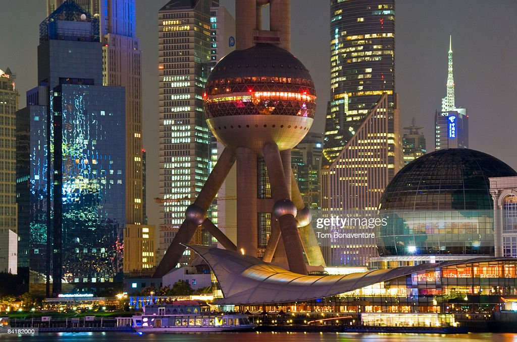 close up of Pudong with Oriental Pearl Tower : Stock Photo