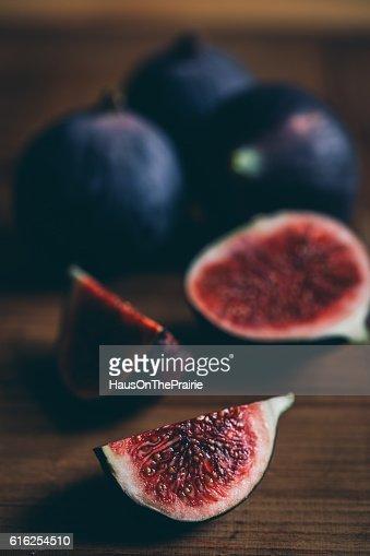 Close Up of quarter sliced fresh fig : Stock Photo