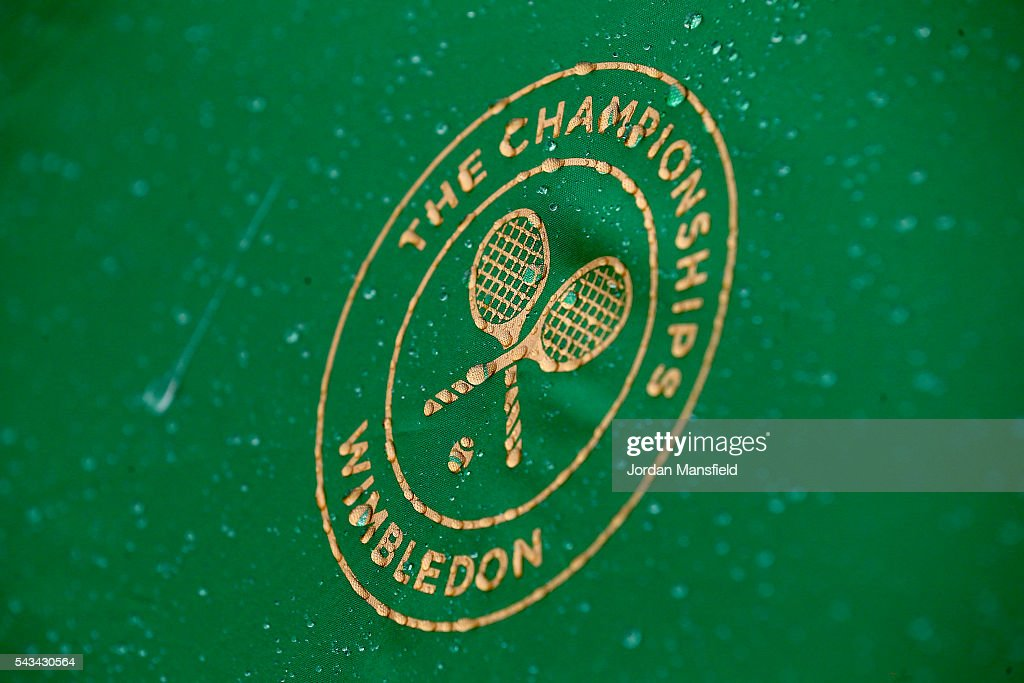 A close up of rain drops on an umpires umbrella on day two of the Wimbledon Lawn Tennis Championships at the All England Lawn Tennis and Croquet Club on June 28, 2016 in London, England.