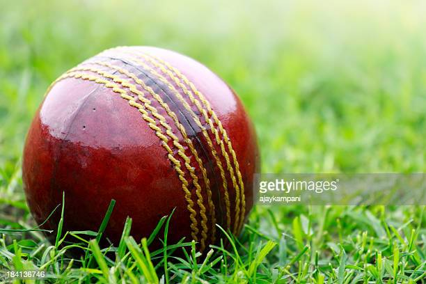 Close up of red cricket ball on short grass