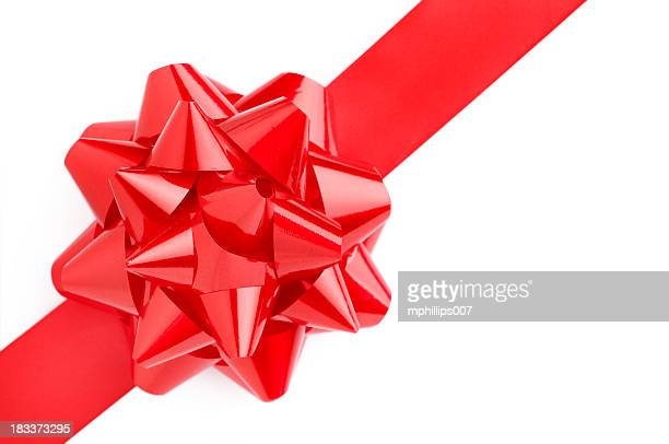 Close up of red gift bow on a white background