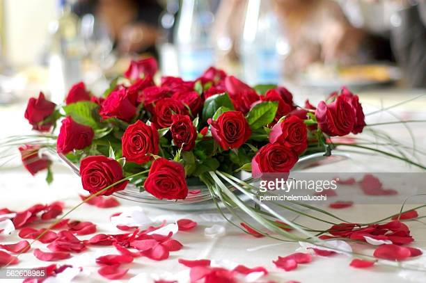 Close up of red roses at a wedding