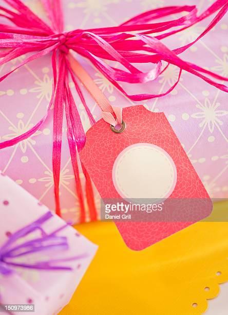 Close up of ribbon on birthday present, studio shot